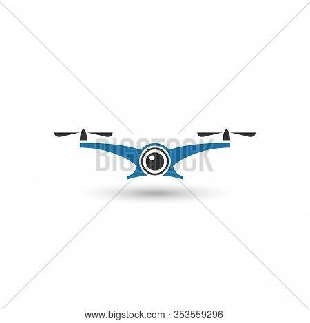 Vector Logo Illustration For Drone Aerial Photography Logo. Perfect For Aerial Photography Industry