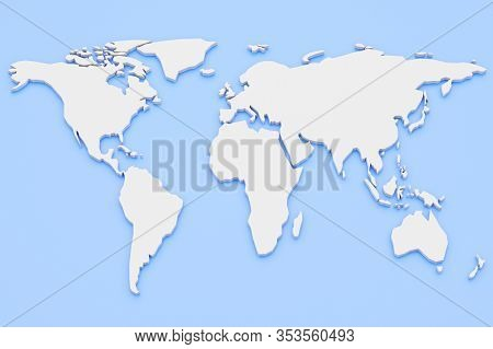 3d Render World Map White Continents On A Blue Background. Empty World Atlas With Copy Space