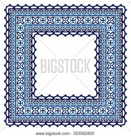 Ceramic Tile Border Pattern. Islamic, Indian, Arabic Motifs. Damask Border Seamless Pattern. Porcela