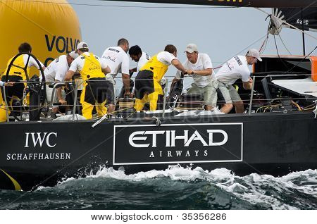 Abu Dhabi Ocean Racing Rounding The Mark (view From Stern)