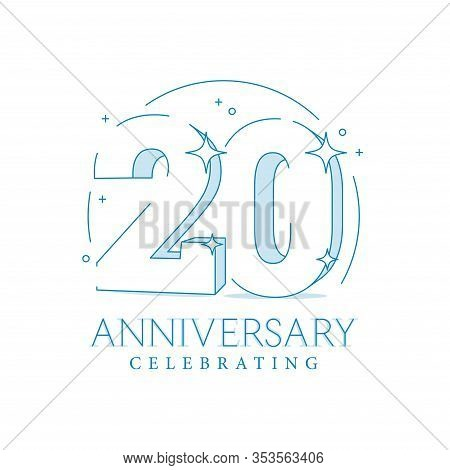 Anniversary 20. 3d Number Twenty With Sparkles. In Line Art Style. 20th Anniversary Poster Template.