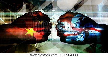 China vs Hong Kong Escalating Tensions as a Concept 3D Render