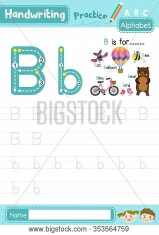 Letter B Uppercase And Lowercase Cute Children Colorful Abc Alphabet Trace Practice Worksheet For Ki