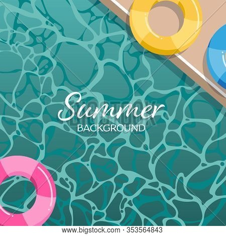 Summer Background With Swimming Life Ring In The Pool With Your Copy Space. Vector Illustration.