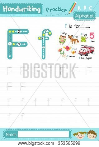 Letter F Uppercase And Lowercase Cute Children Colorful Abc Alphabet Trace Practice Worksheet For Ki