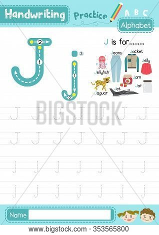 Letter J Uppercase And Lowercase Cute Children Colorful Abc Alphabet Trace Practice Worksheet For Ki