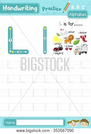 Letter L Uppercase And Lowercase Cute Children Colorful Abc Alphabet Trace Practice Worksheet For Ki
