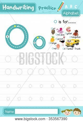 Letter O Uppercase And Lowercase Cute Children Colorful Abc Alphabet Trace Practice Worksheet For Ki