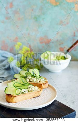 Sandwich With Cream Cheese And Fresh Cucumber. Close-up. Vegetarian Fitness Sandwich With Cottage Ch