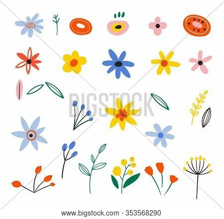 Vector Floral Bouquet Design. Set Of Flat Spring Flower Icons In Silhouette Isolated On White. Flowe