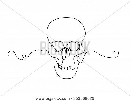 Continuous Human Skull  Illustration, One Line Art