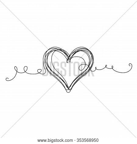 Continuous Heart  Illustration, One Line Art Love Symbol