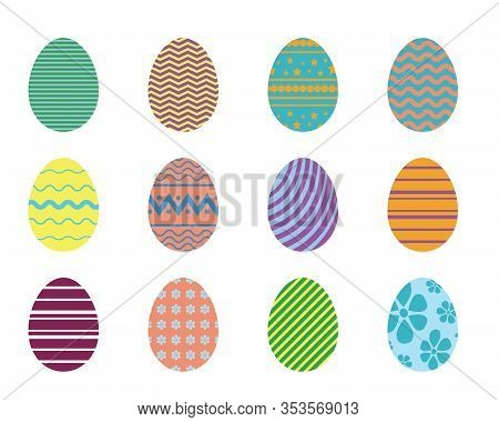 Easter Eggs Collection With Simple Geometric Patterns