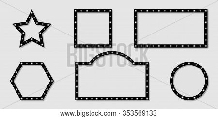 Shining Frames Billboard Collection. White Light On Frames Billboard Different Shapes With Shadow. R