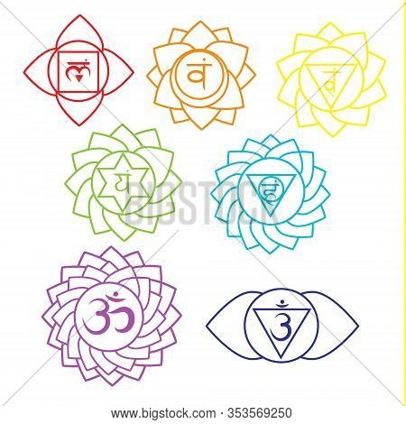 Seven Chakras Linear Icons.  Yoga Symbols, Spiritual Signs. Vector Set