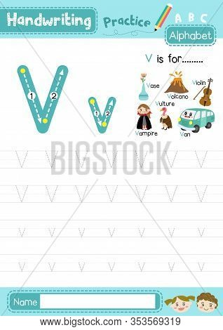 Letter V Uppercase And Lowercase Cute Children Colorful Abc Alphabet Trace Practice Worksheet For Ki