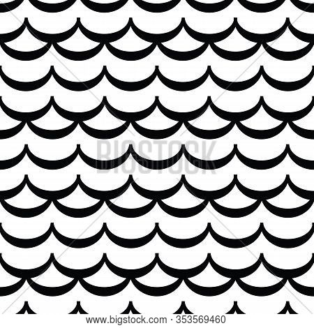 Wave Seamless  Pattern Or Monochrome Modern Background