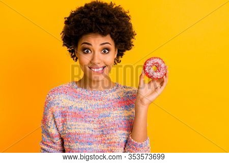 Yummy Snack Concept. Positive Cheerful Afro American Girl Feel Hungry Hold Tasty Delicious Cake Donu