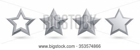 Silver Stars. Realistic Metal Golden Stars Isolated For Rating And Holiday Decoration Vector Set. Ra