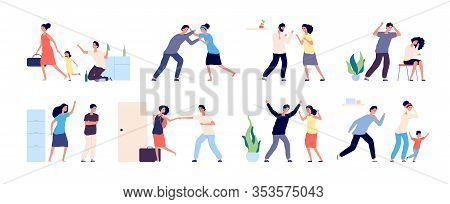 Family Conflict. Angry, Unhappy People. Couple Divorce Or Quarrel, Husband And Wife Domestic Violenc