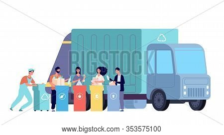 Garbage Truck. Refuse Recycling, Rubbish Worker And Disposal Containers. People Sorting And Throw Wa