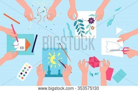 Kids Creative Lab. Children Craft Art Workshop. Top View Desk Watercolor Paint And Paper Cut. Classr
