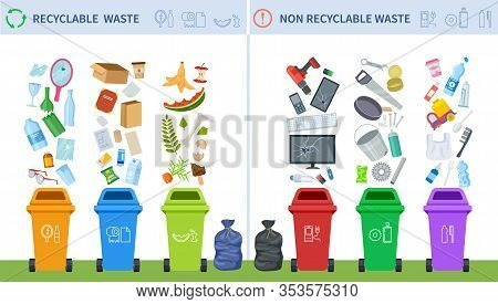 Waste Recycling. Trash Recycle Management, Garbage Segregation Classification. Infographic Of Rubbis