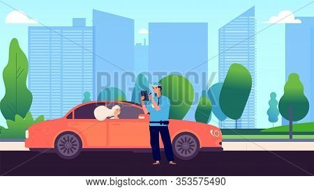 Policeman And Female Driver. Car Inspector Write Fine To Intruder. Speed Traffic Violation Or Wrong