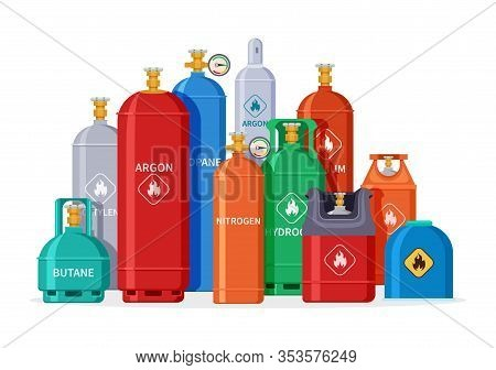 Gas Cylinder Group. Oxygen Tanks, Bottles And Canister. Isolated Petroleum Industry Equipment. Liqui
