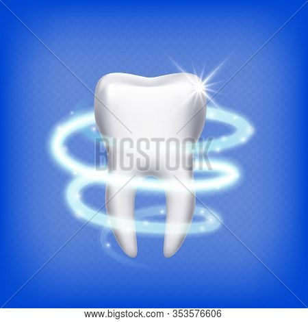 Realistic Tooth. Isolated Shining 3d Teeth. Dental Health Care, Clean Molar. Stomatology Icon, Prote