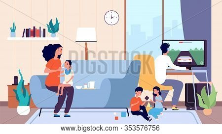 Single Mother. Mom Feeds Baby, Large Family. Nanny Or Babysitter And Little Children In Room Vector