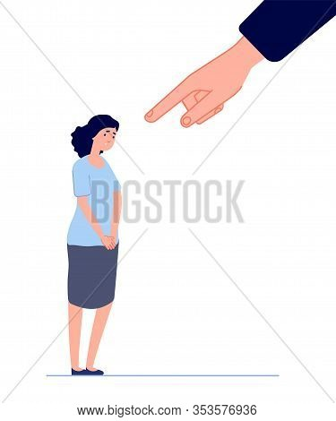 Victim Blaming. Female Fear, Hand Pointing To Disgraced Woman. Shame Or Anxiety, Sad Depressed Cryin