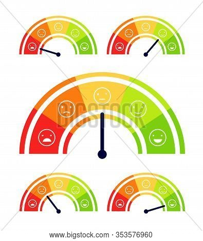 Mood Scale. Stress Indicator, Health Levels Meter. Customer Report Satisfaction Analysis. From Happy