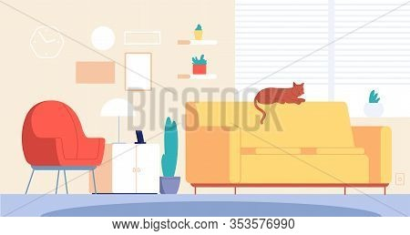 Cat In Room. Living Home Decor, Stylish Furniture. Modern Apartment Interior With Lounging Pet On So