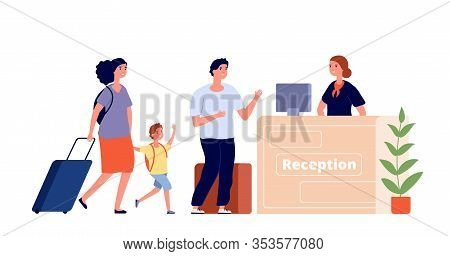 Reception Desk. Hotel Area, Travel Family And Receptionist. Man Woman Guest In Lobby. Check In, Acco
