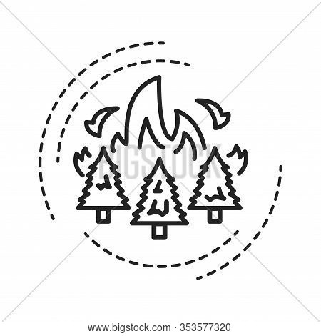 Forest Fires Black Line Icon. Start From Natural Causes Such As Lightning, High Atmospheric Temperat