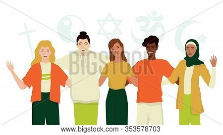 Group Of Happy Friend Of Different Religion. Islam, Judaism, Buddhism
