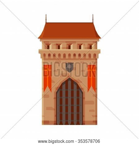 Stone Castle Tower With Gates, Part Of Medieval Ancient Fortress Or Stronghold Vector Illustration