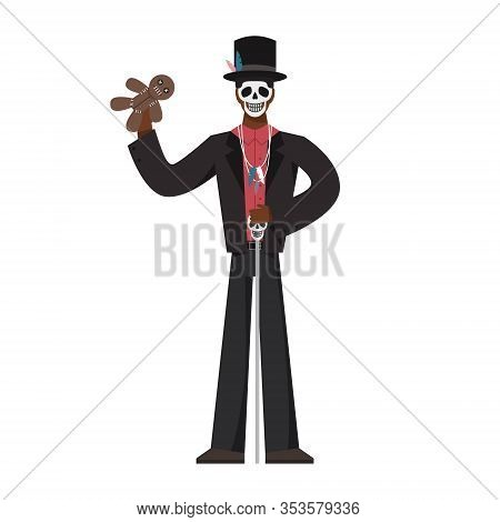 Voodoo High Priest. Hungan Wearing Traditional Clothes. Male Voodoo