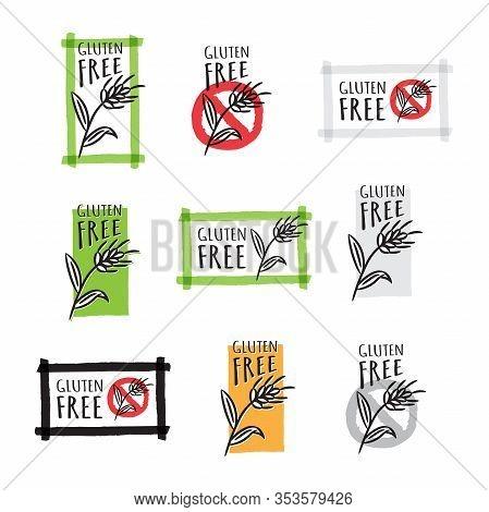 Gluten Free Hand Drawn Vector Label Set. No Gluten Symbols Graphic Design.