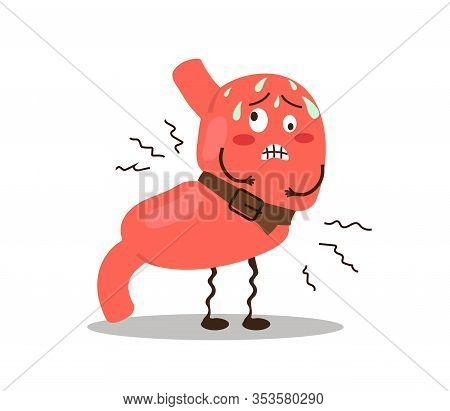 Sick Stomach On A White Background. Spasm. Vector Illustration.