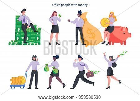 Set Of Business Woman And Man With Money. Happy Successfull People