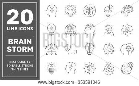 Set Of Brainstorm Icons Such As Artificial Light, Brain, Lightbulb, Creative, Creativity, Knowledge,