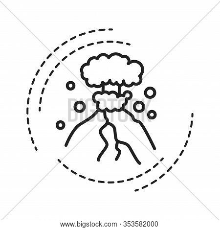 Eruption Black Line Icon On White Background. The Outpouring Of Magma. Ejection Of Ash. Pictogram Fo