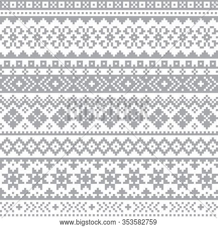 Fair Isle, Shtelands Knitwear Traditional Vector Seamless Design, Scottish Retro Design In Gray On W
