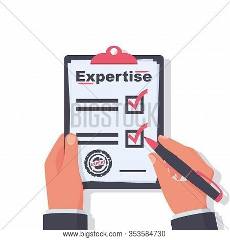 Expertise Concept. Expert Holding In Hand Clipboard And Pen. Documents And Written Research. An Expe