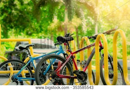 Bicycle Sharing Systems. Bicycle For Rent Business. Bicycle For City Tour At Bike Parking Station. E