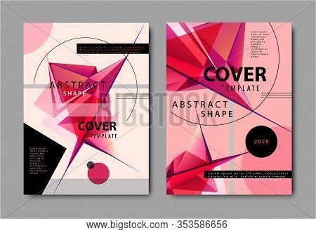 Vector Set Of Abstract Geometric Covers, Red Facet Flyers, Design Template. Music Posters