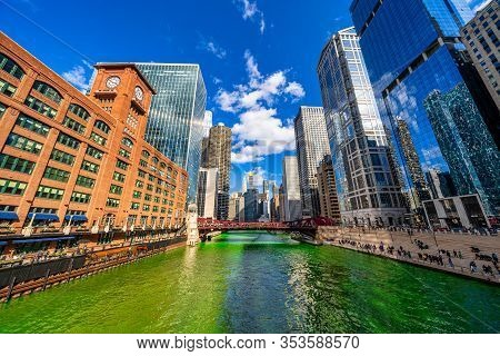 Chicago Building And Cityscape On Saint Patrick's Day Around Chicago River Walk With Green Color Dye