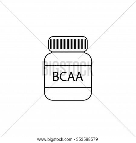 Illustration With Bcaa Icon For Lifestyle Design. Workout Vector Illustration.